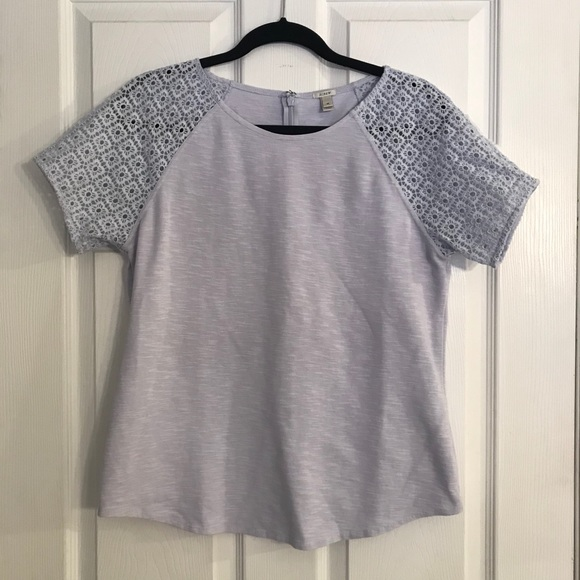 J. Crew Periwinkle Short Sleeve Top w/ Lace Detail